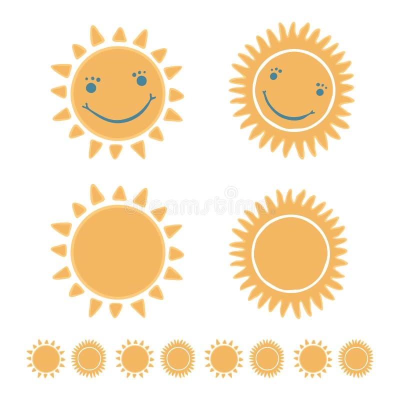 Nette Karikatursonne, wenn die glückliche lächelnde Gesichtshand gezeichnet ist vektor abbildung