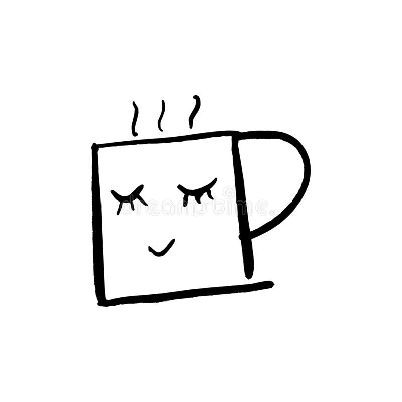 Nette Karikaturtasse tee des Vektors oder Kaffee Linie Skizzenillustration stock abbildung
