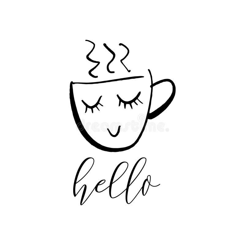 Nette Karikaturtasse tee des Vektors oder Kaffee Linie Skizzenillustration lizenzfreie abbildung