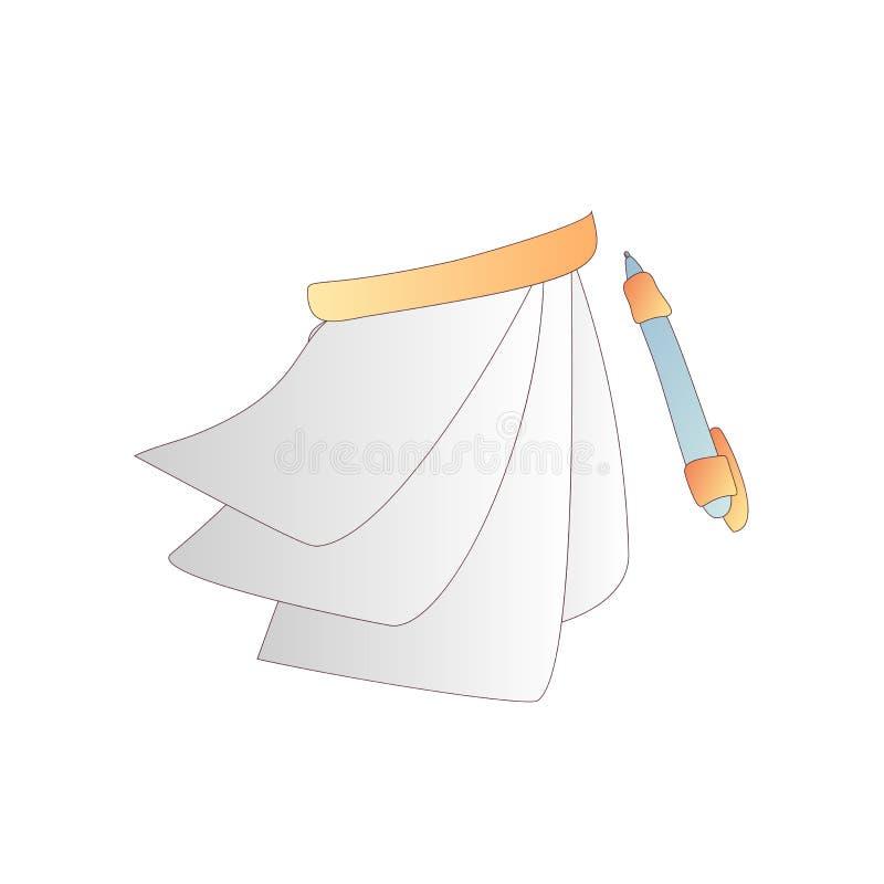 Nette Karikaturvektorbuch-, -notizbuch-, -kalender-, -tagebuch- und -zeitschriftenikone mit Stift Karikatur bucht Ikone Schulbuch lizenzfreie abbildung