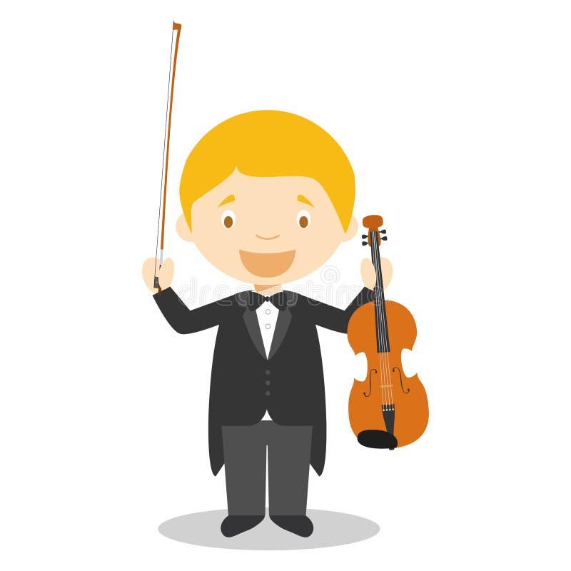 Nette Karikaturvektorillustration eines klassischen Musikers oder des Violinisten lizenzfreie abbildung