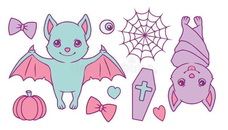 Nette Karikaturvektorsammlung eingestellt mit farbigen Halloween-Pastellschlägern, -spiderweb, -kürbis, -sarg, -herzen, -augapfel vektor abbildung