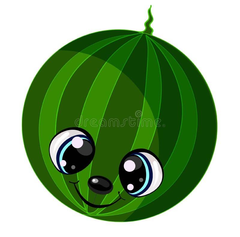 Nette Karikaturwassermelone, welche die Sommersaison genießt vektor abbildung