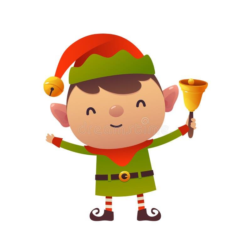 Nette Karikaturweihnachtselfe hält Glocke auf weißer Hintergrundguten rutsch ins neue jahr-Grußkarte vektor abbildung