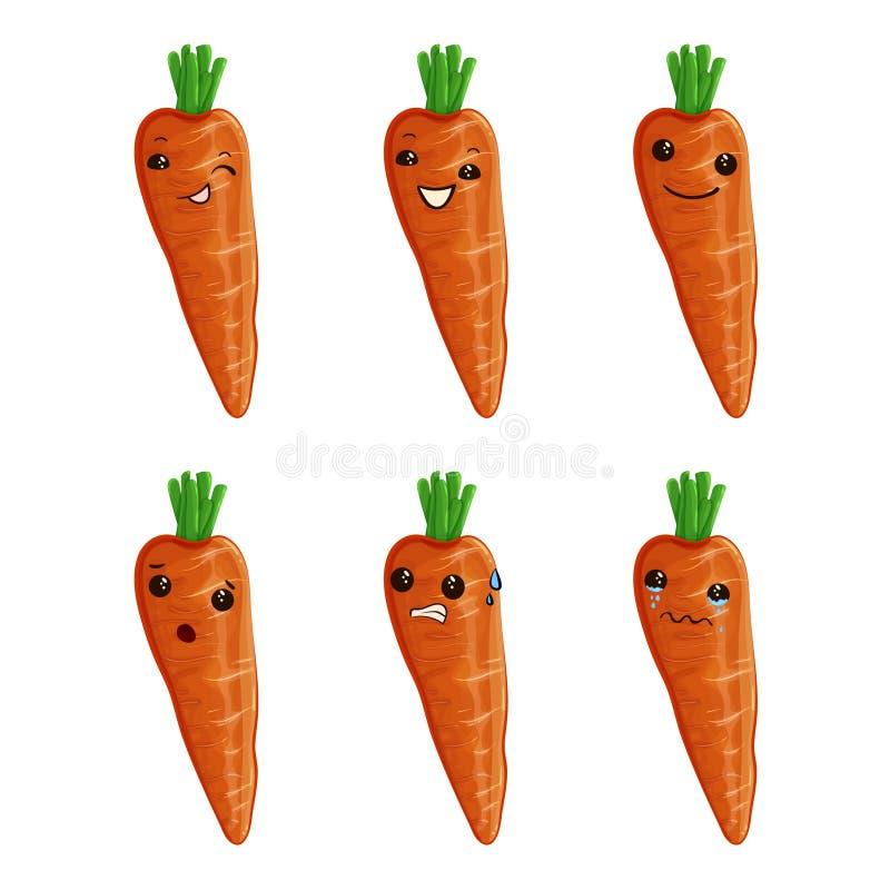 Nette Karottenzeichentrickfilm-figur-Illustration Karotten-Maskottchen-Vektor stock abbildung