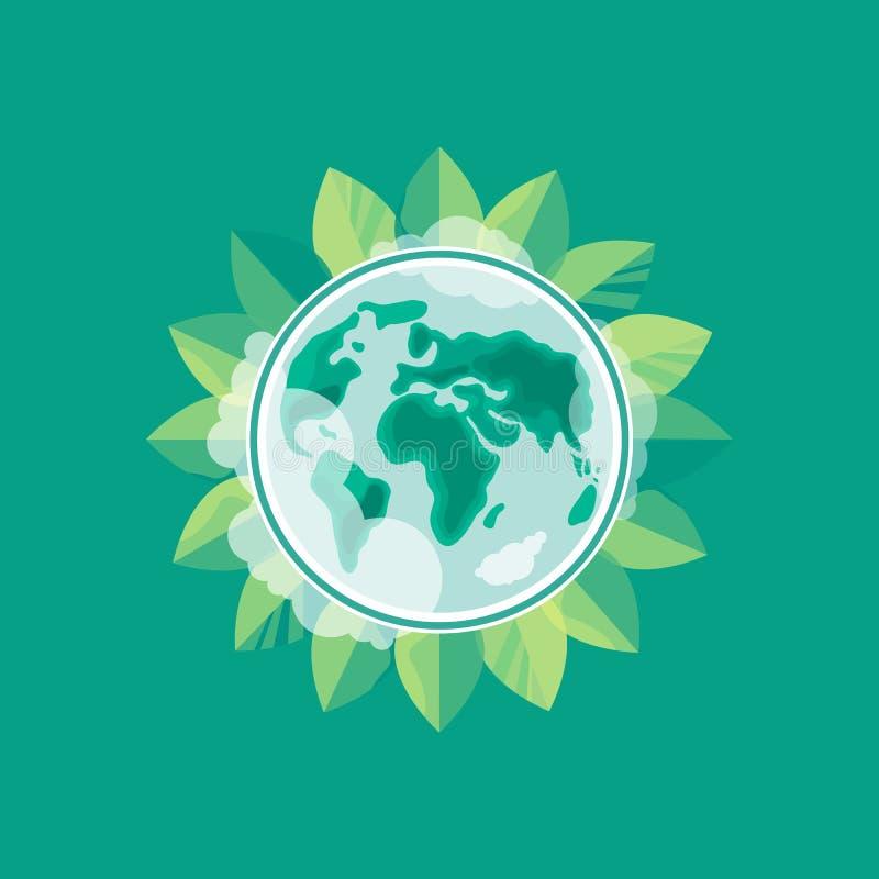 Nette Karte der Welt der Blumen und der feierlichen Fahne mit Basisrecheneinheit und Marienkäfer Umweltslogans, Sprechen und Phra lizenzfreie abbildung