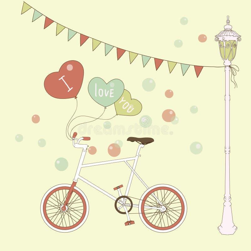 Nette Karte mit Ballonen und bicyclefor Valentinsgrüßen lizenzfreie abbildung