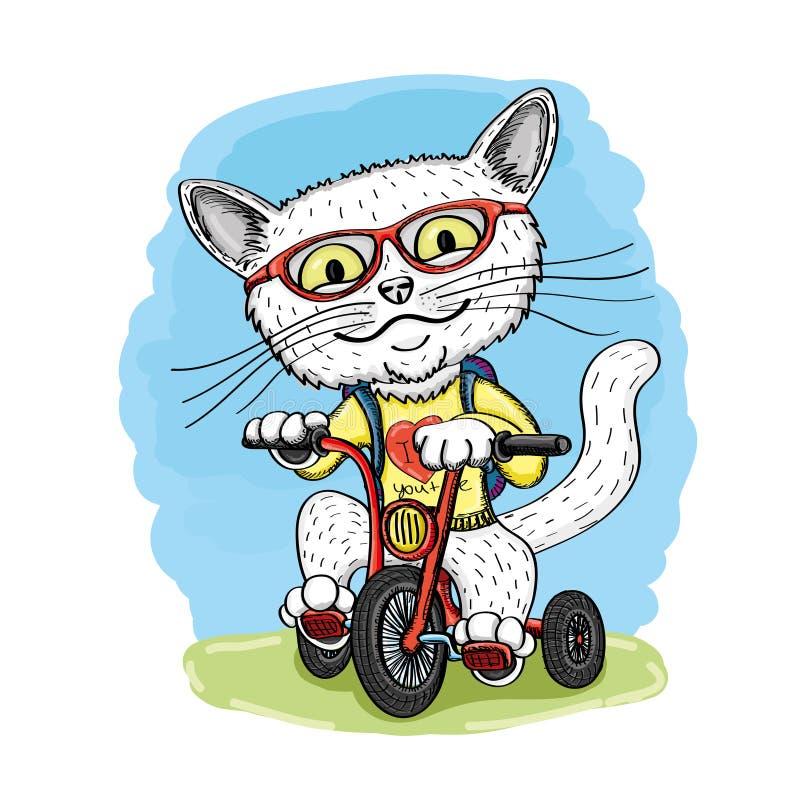 Nette Katze auf einem roten Fahrrad lizenzfreie abbildung