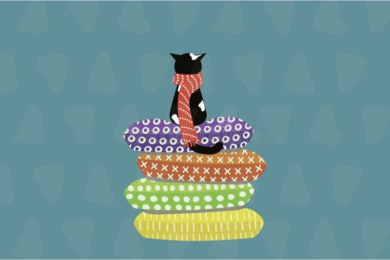 Nette Katze in einem Schal, der auf Kissen sitzt lizenzfreie abbildung