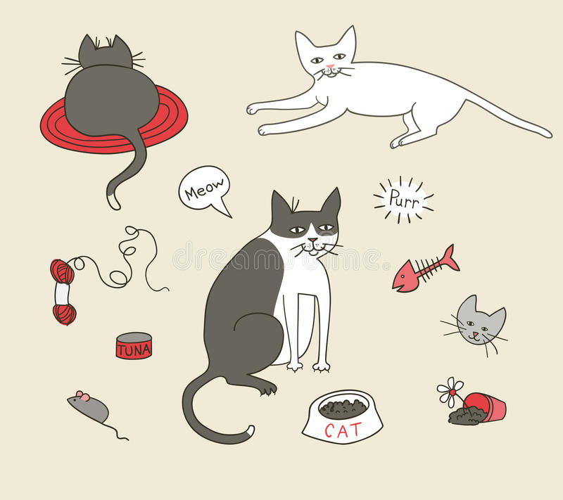 Nette Katze-Elemente vektor abbildung
