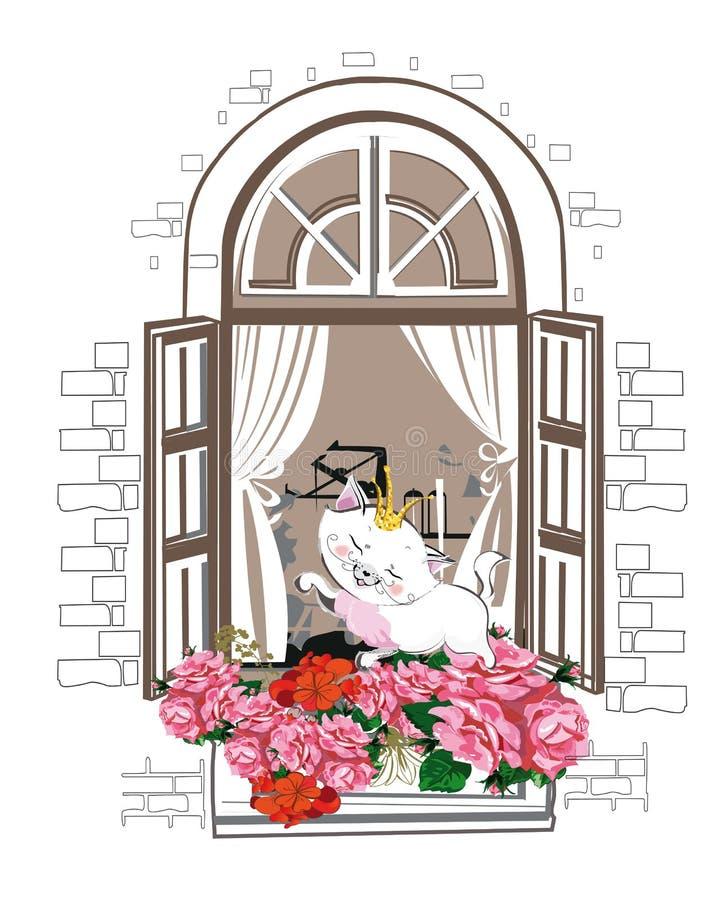 Nette Katze mit einer Krone im Fenster mit Blumen lizenzfreie abbildung