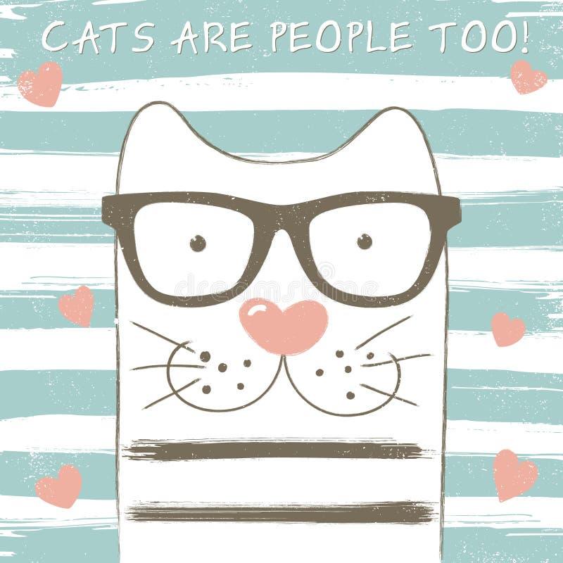 Nette Katze mit Gläsern lizenzfreie abbildung