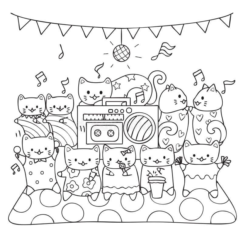Nette Katzen genießen das Tanzen und singen und Musik in der Partei spielend, entwerfen Sie zusammen für Druckt-stück, Karten-, E vektor abbildung