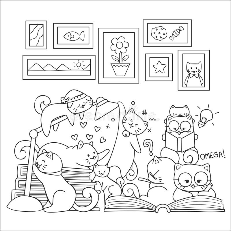 Nette Katzen genießen, togethers zu studieren entwerfen für Tapetenkunst, Druckt-stück und Malbuchseite Photorealistic Ausschnitt vektor abbildung