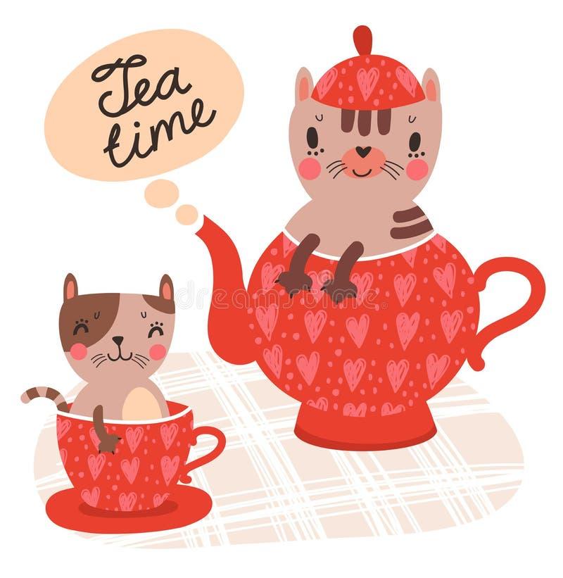 Nette Katzen mit einer Tasse Tee und Teekanne lizenzfreie abbildung