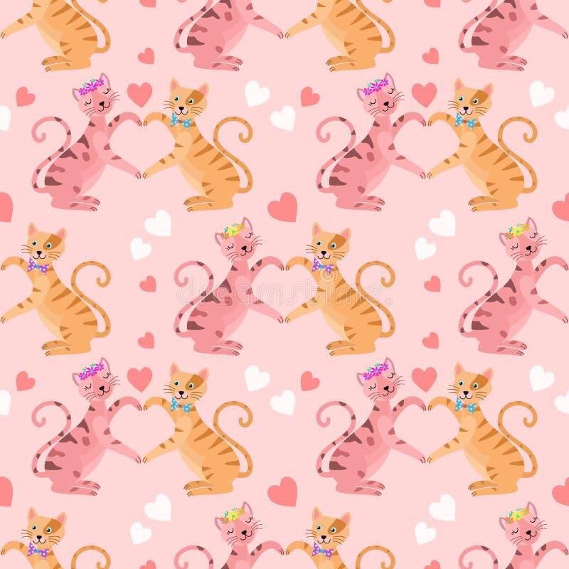 Nette Katzen mit nahtlosem Muster der Herzform lizenzfreie abbildung