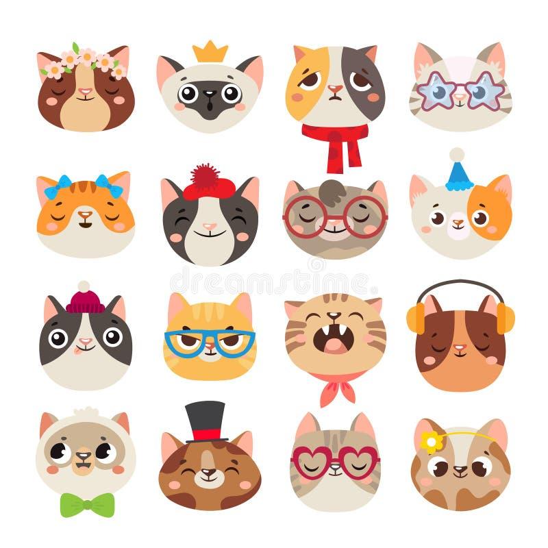 Nette Katzenköpfe Katzenmündung, des Hutes, -schals und Farb-partei des inländischen Miezekatzegesichtes tragender Karikaturvekto lizenzfreie abbildung