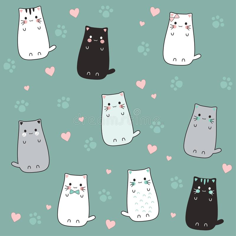 Nette Katzenkarikaturskizze mit Liebe lizenzfreie abbildung