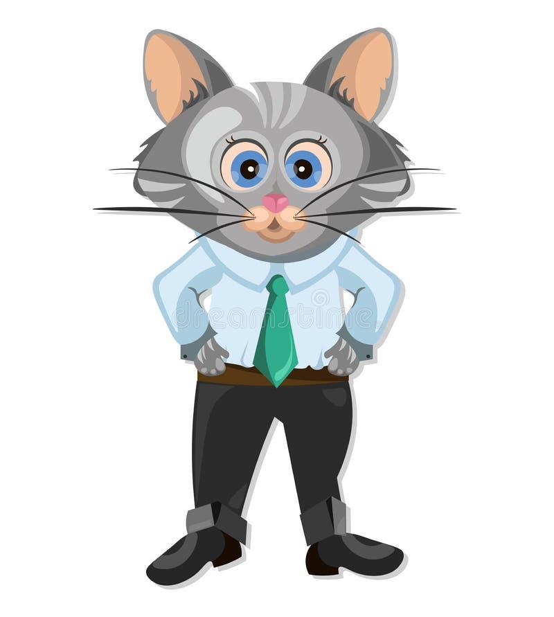 Nette Katzenzeichentrickfilm-figur-Animation Vektorillustration stock abbildung