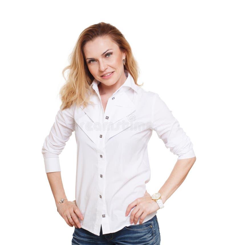 Nette kaukasische blonde Frau lokalisiert auf weißem Hintergrund stockfoto