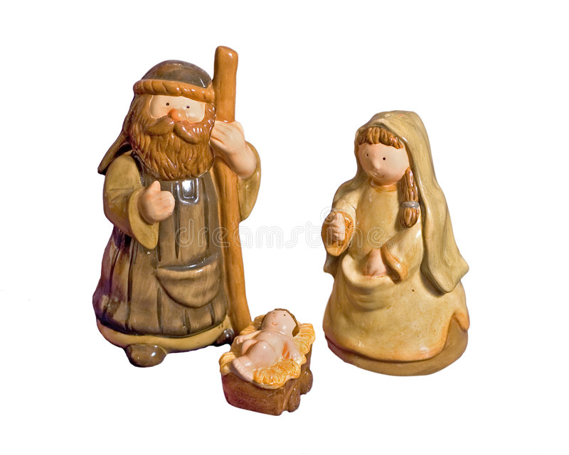 Nette keramische Geburt Christi-Szene stockbild