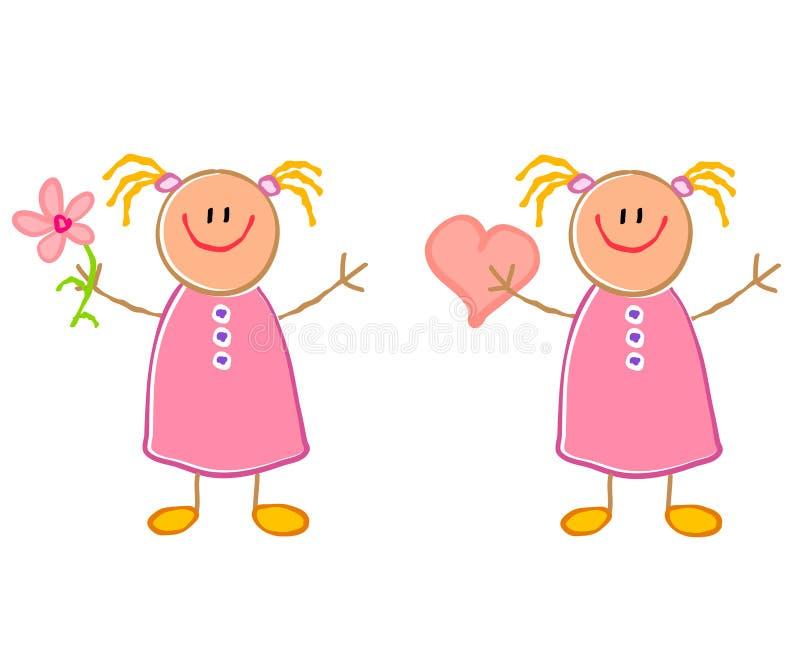Nette Kind-Zeichnungs-Mädchen lizenzfreie abbildung