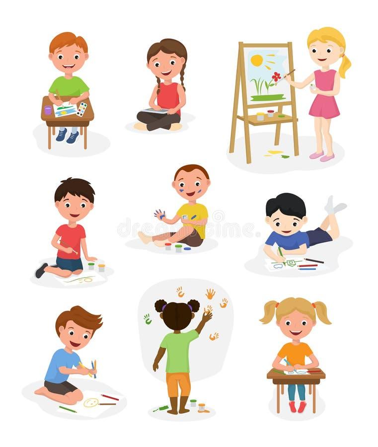 Nette Kinder des Künstlers vector Farbenkunstkinderkreative Zeichnungsgrafikmalerkinderjungen- und -mädchenkunstleute-Karikaturki stock abbildung
