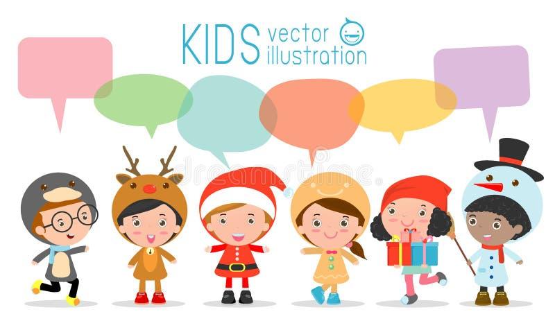 Nette Kinder mit Rede sprudelt auf weißem Hintergrund, stilvolle Kindweihnachtskostüme mit Spracheblase, die Kinder, die mit s sp vektor abbildung