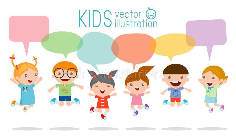 Nette Kinder mit Rede sprudelt, die stilvollen Kinder, die mit Spracheblase, die Kinder springen, die mit Spracheballon sprechen  lizenzfreie abbildung