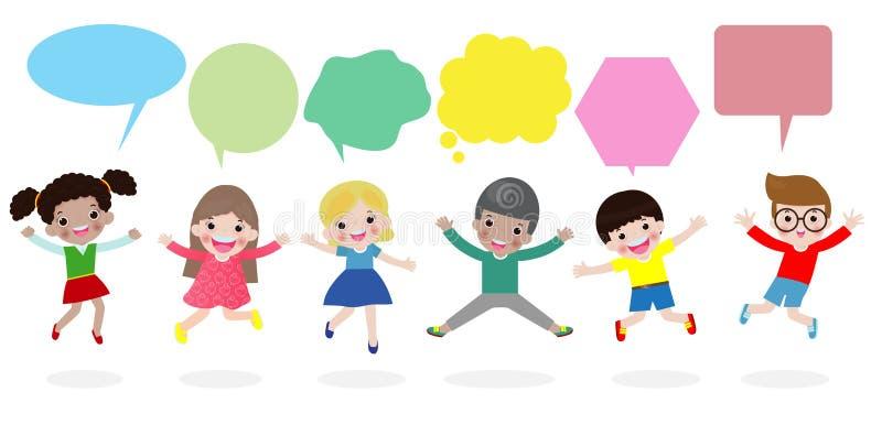 Nette Kinder mit Rede sprudelt, die stilvollen Kinder, die mit Spracheblase, die Kinder springen, die mit Spracheballon sprechen  vektor abbildung