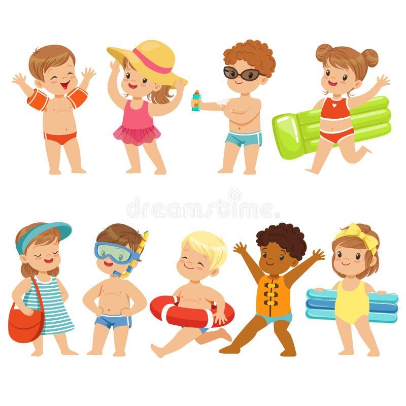 Nette Kinder Toons haben Spaß auf dem Strand stock abbildung
