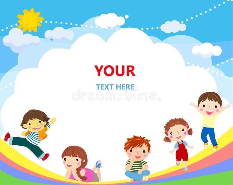 Nette Kinder und Regenbogenhintergrund vektor abbildung