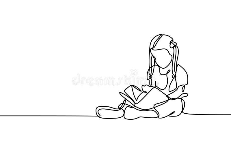 Nette Kinderununterbrochenes Federzeichnungslesebuch-Vektorillustration lizenzfreie abbildung