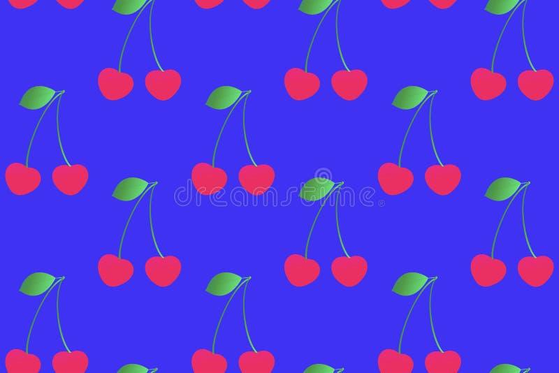 Nette Kirschnahtloses Muster auf einem blauen Hintergrund Steigungsf?lle lizenzfreie abbildung
