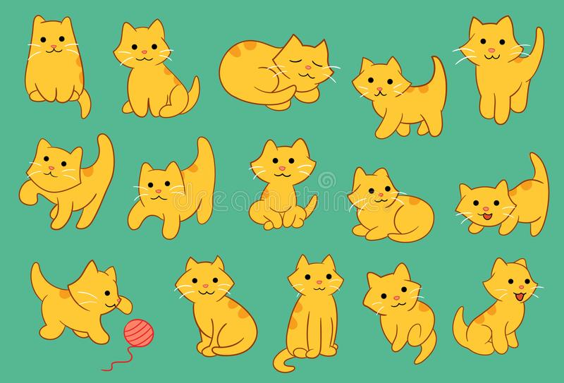 Nette Kitten Pose Various Vector Illustration lizenzfreie abbildung
