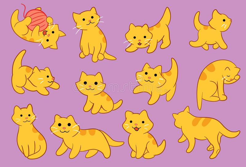 Nette Kitten Pose Vector Icon Illustration stock abbildung