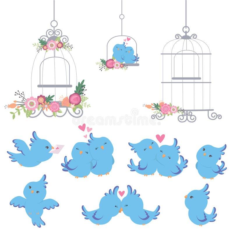 Nette kleine blaue Papageien-Wellensittiche eingestellt mit Weinlese-Käfig-und Blumen-Valentinsgruß-Tageshochzeits-Gestaltungsele stock abbildung