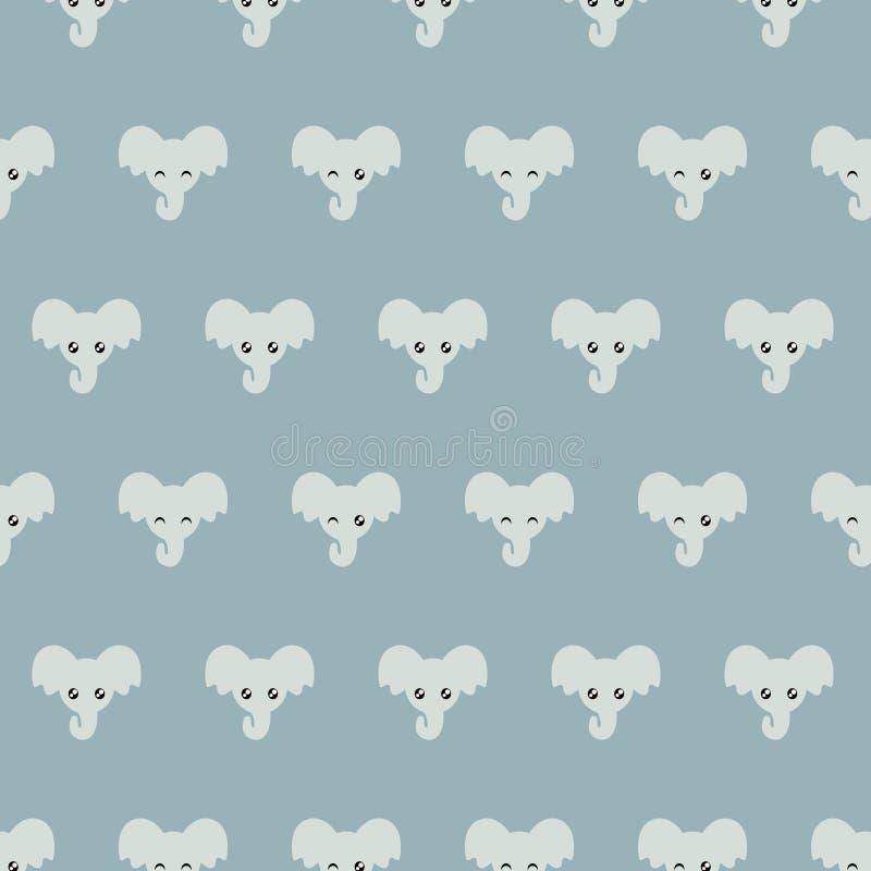 Nette kleine Elefanten Blaues Muster lizenzfreie abbildung