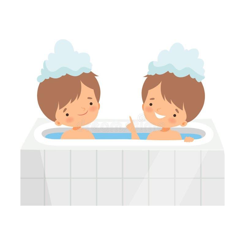 Nette kleine Jungen, die Bad in der Badewanne voll vom Schaum, entzückende Kinder im Badezimmer, tägliche Hygiene-Vektor-Illustra stock abbildung