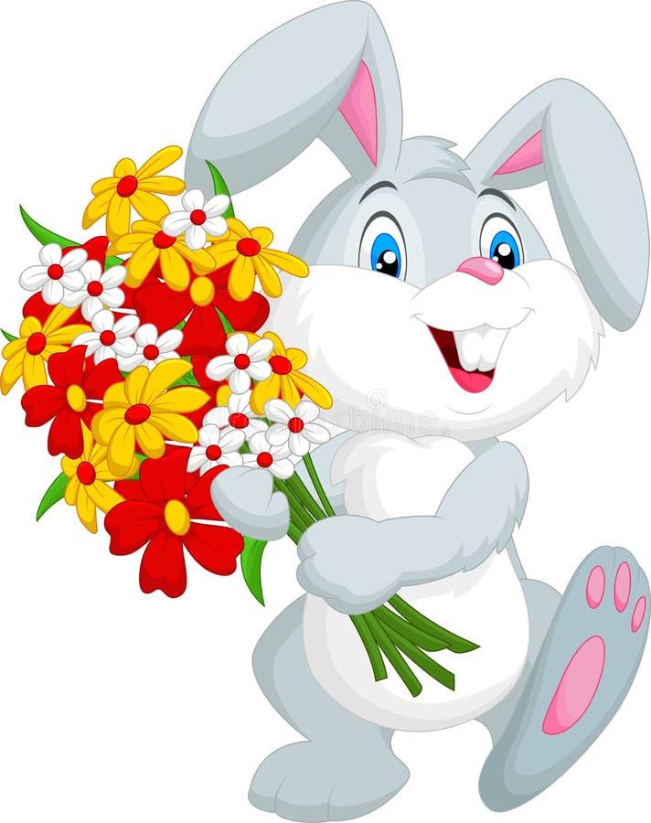 Nette kleine Kaninchenkarikatur, die einen Blumenstrauß hält stock abbildung