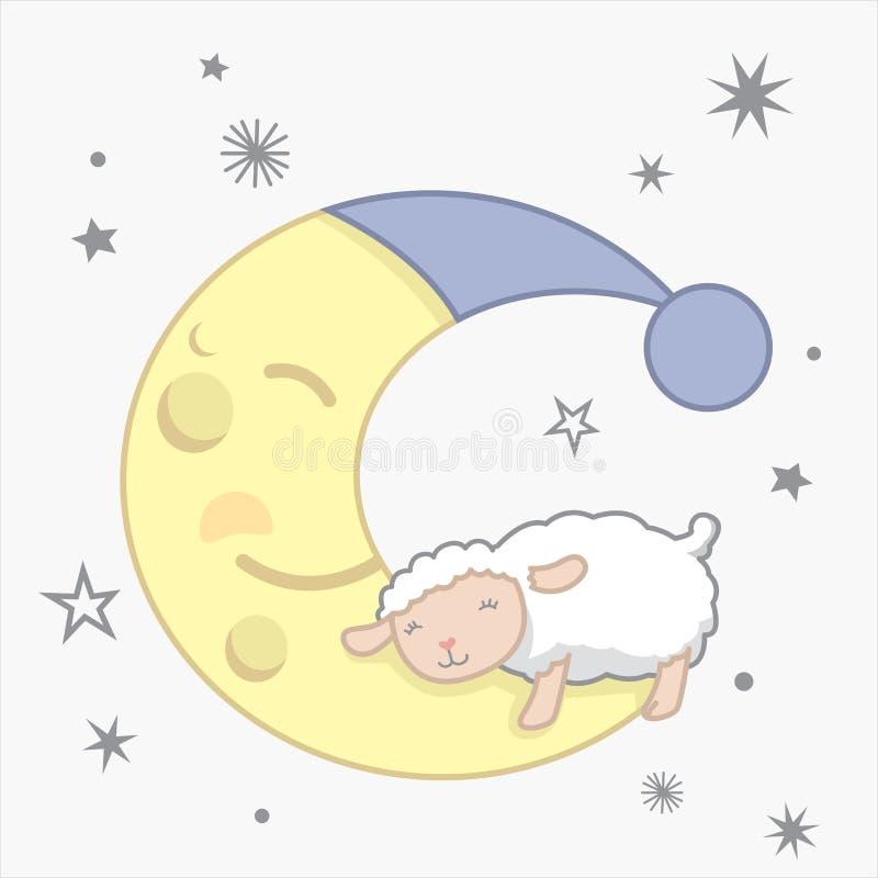 Nette kleine Kawaii-Art-Schafe, die auf den Mond-träumerischen Zählungsschafen mit Stern-Nachtszenen-träumerischem Zählungsschaf- lizenzfreie abbildung