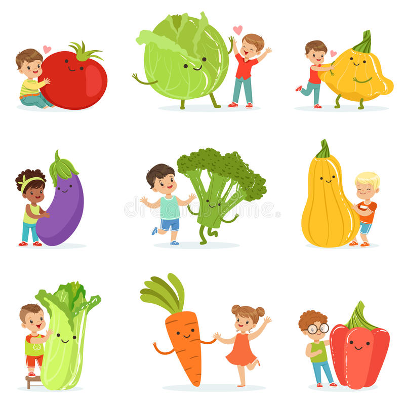 Nette kleine Kinder, die Spaß haben und mit großem Gemüse, Satz für Aufkleberdesign spielen Bunte Zeichentrickfilm-Figuren lizenzfreie abbildung