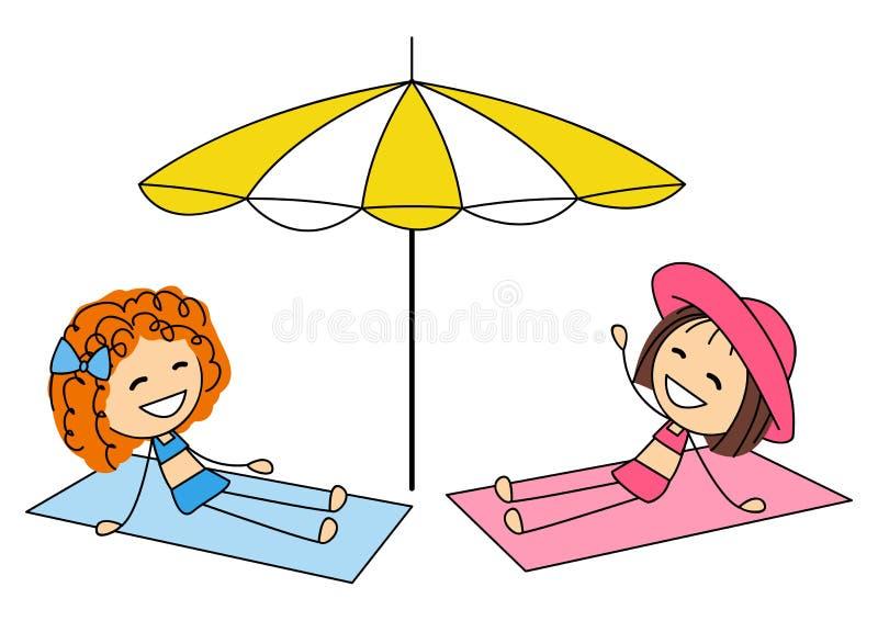 Nette kleine Mädchen, die auf dem Strand ein Sonnenbad nehmen stock abbildung