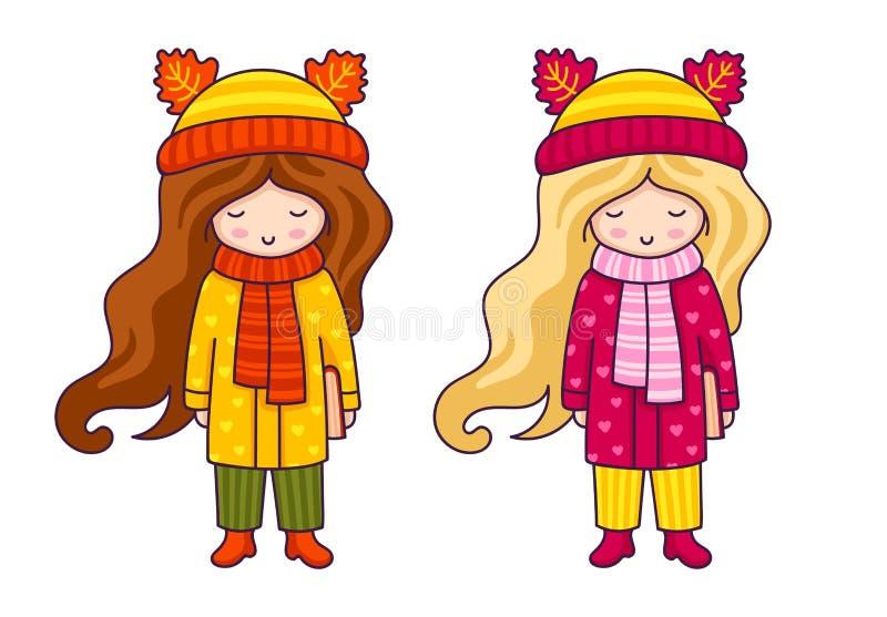 Nette kleine Mädchen im Herbstmantel und -hüten mit den Ohren von Tieren stock abbildung