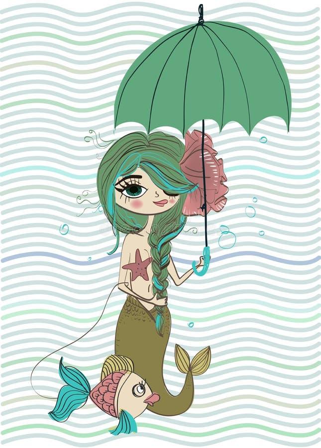 Nette kleine Meerjungfrau lizenzfreie abbildung