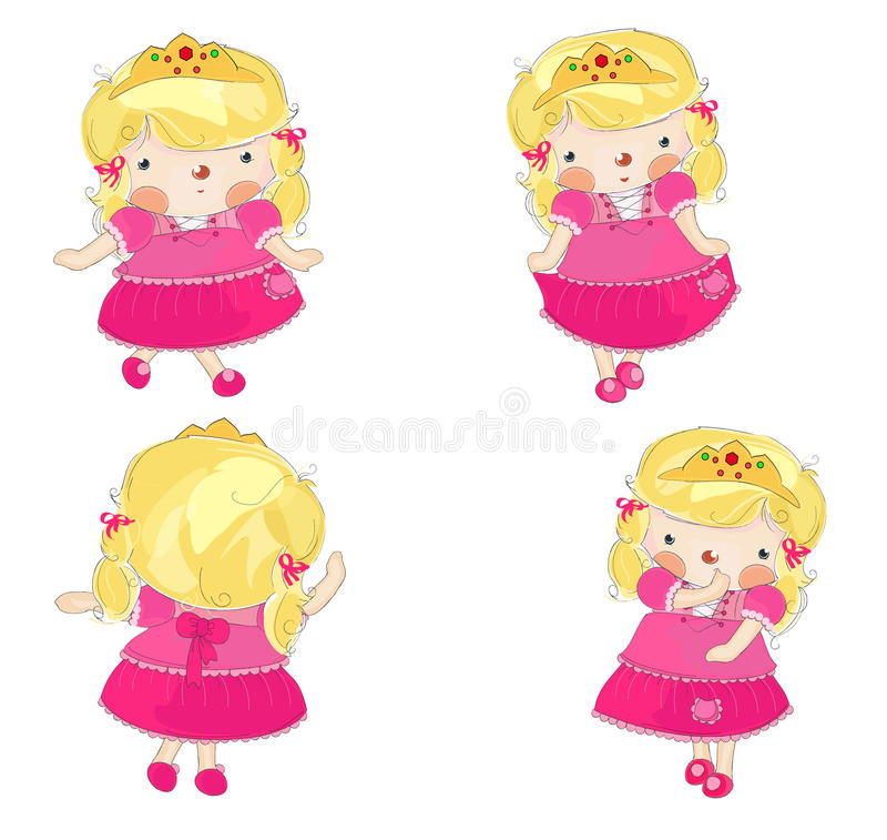 Nette kleine Prinzessin in 4 Varianten vektor abbildung