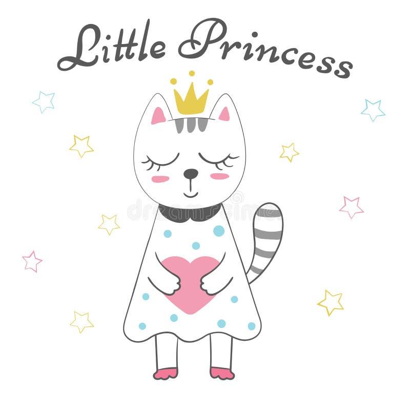 Nette kleine Prinzessin - Babyillustration Idee für Druckt-shirt lizenzfreie abbildung