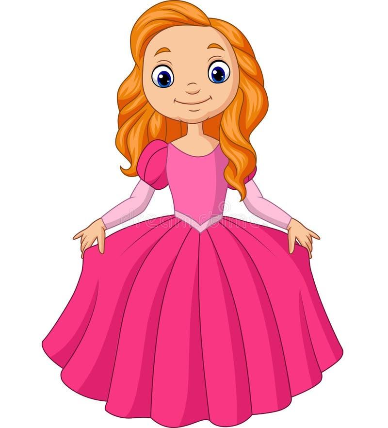 Nette kleine Prinzessin lokalisiert auf einem weißen Hintergrund vektor abbildung