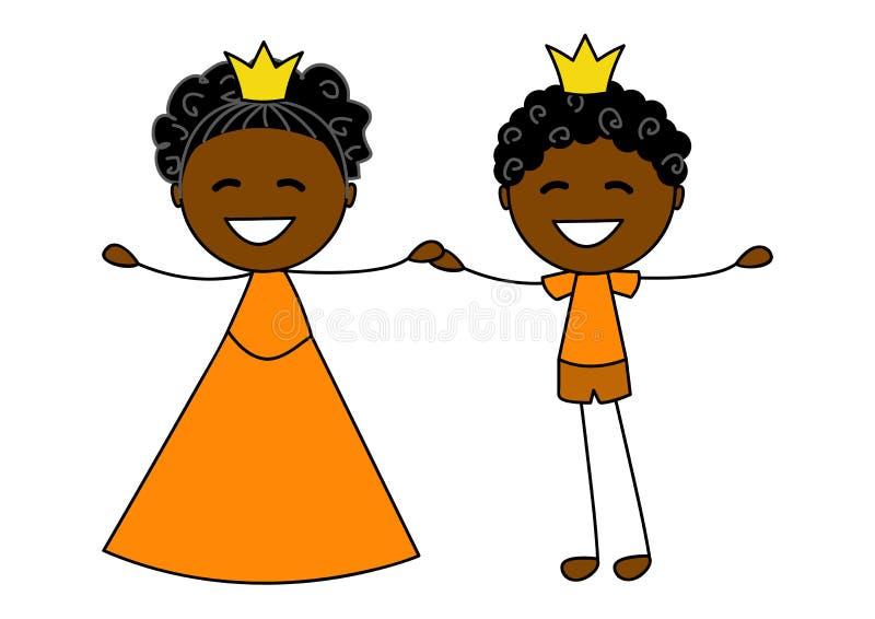 Nette kleine Prinzessin mit Prinzen lizenzfreie abbildung