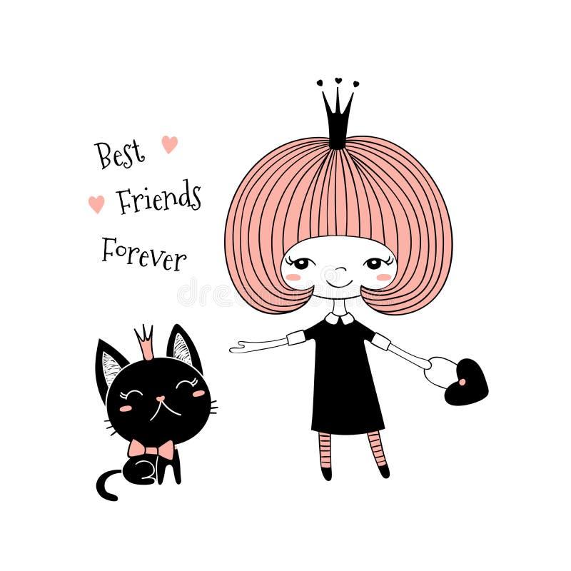 Nette kleine Prinzessin und Katze stock abbildung